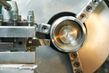 Close-up process of metal machining