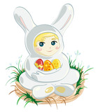 Baby in Easter bunny suit holding three eggs