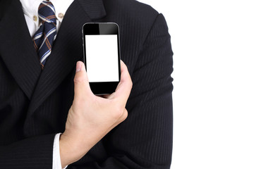 Businessman hold smart phone