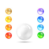 Holiday gem, set of balls all rainbow colors.