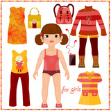 Paper doll with a set of fashion clothes. Cute girl. Template fo