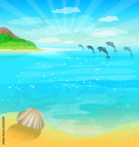 Seascape with dolphins and sea shell