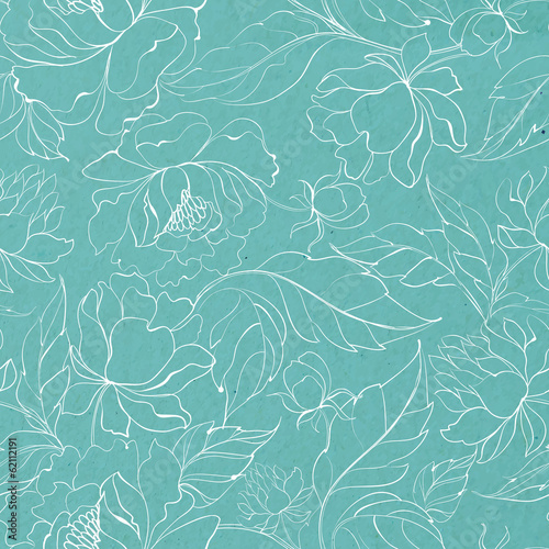 Seamless floral pattern with Peony.