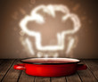 Chef hat above cooking pot