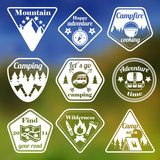 Outdoors tourism camping flat emblems set