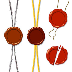 Wax seal on a rope; Eps8