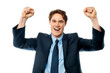 Businessman celebrating success with arms up