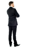 Thoughtful businessman,  Rear view image