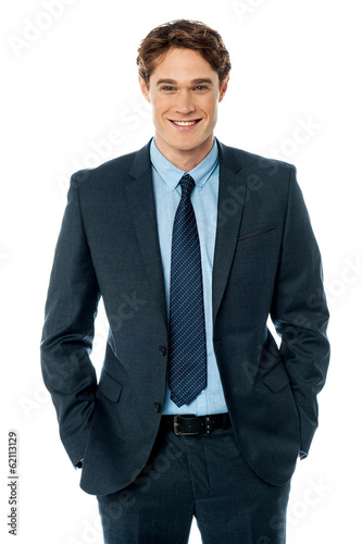 Happy smiling business man, isolated on white