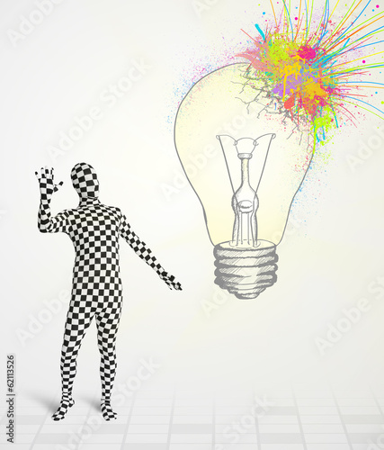 3d human character is body suit looking at abstract colorful lig