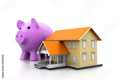 piggy bank and a house model