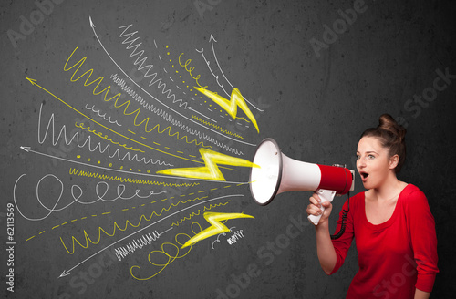 Cute girl shouting into megaphone with hand drawn lines and arro