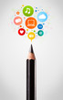 Pencil close-up with social network icons