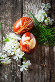 Easter Eggs Decorated with blooming flowers