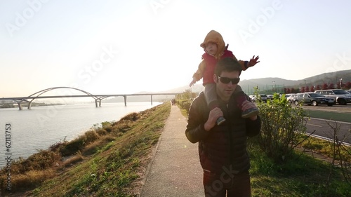 Baby Toddler At The Park with Uncle sunset