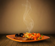 canvas print picture - Fresh delicious home cooked food with steam