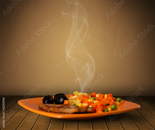 canvas print picture Fresh delicious home cooked food with steam