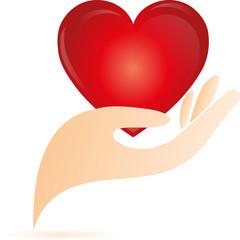 Logo, 3D, Herz, Hand
