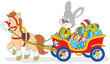 Rabbit carrying Easter eggs in a cart with a pony
