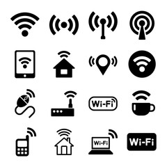 Wireless Technology, Wi-Fi Web Icons Set