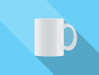 white vector cup isolated on blue background
