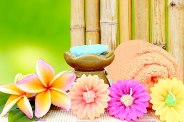 Spa aromatherapy and bamboo background.