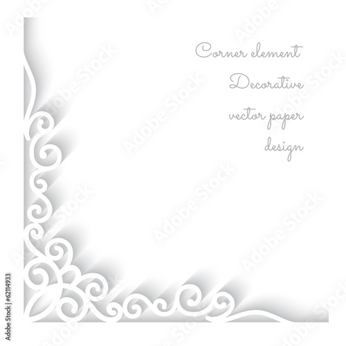 Paper corner ornament on white