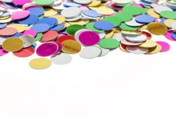 small color confetti background on white