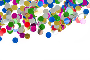 small color confetti background on white
