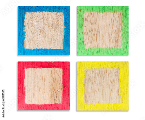 4 colorful wooden frames