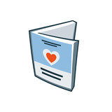 Invitation love card icon in cartoon style
