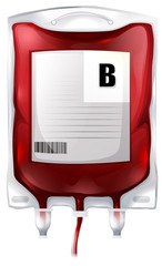 A blood bag with type B blood
