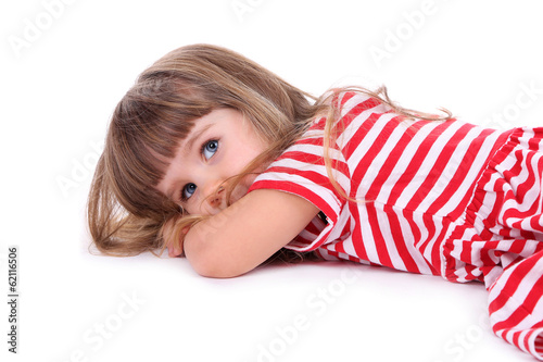 Pretty little girl isolated on white