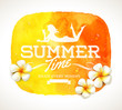 Summer greeting and tropical flowers on a watercolor banner