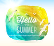 Summer greeting and flying seagulls against a watercolor banner