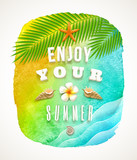 Watercolor background with summer holiday greeting