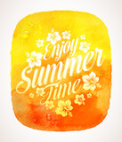 Summer time greeting with flowers on a watercolor background