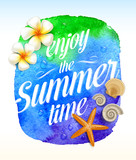 Summer greeting on a watercolor banner