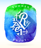 Summer travel greeting and things on a  watercolor background