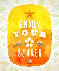 Watercolor banner with summer greeting