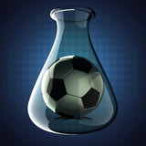 football in Laboratory glassware on blue background