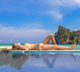 Woman by the pool on Ko Phi Phi island