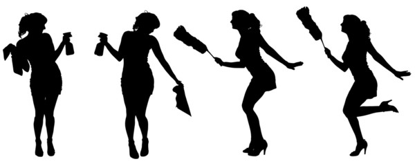 Vector silhouette of a cleaning lady.
