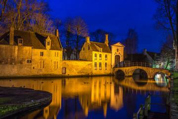 Beguinage of Bruges, Belgium in Blue Hour
