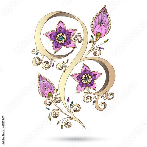 Henna Paisley Mehndi Doodles Design Element. Colored version. © juliasnegi