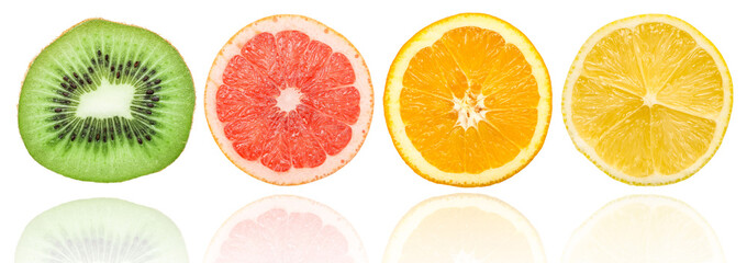 Fresh Citrus Fruit Slices Isolated On White