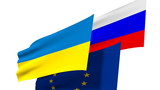 ukraine, russia and eurounion national flags poster