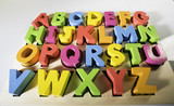 Latin alphabet multicolored letters