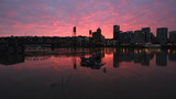 Sunset along Willamette River with Cityscape in Portland Oregon