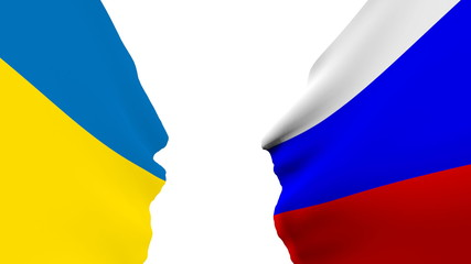 ukraine and russia national flags